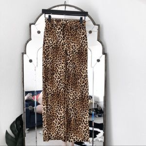 Leopard cheetah high waisted stretchy flowy pants
